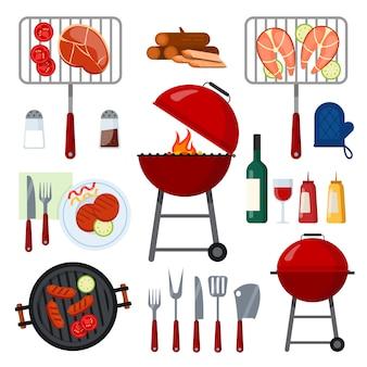 Set di strumenti cibo e bevande per barbecue party su bianco.