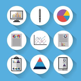 Set di strumenti di dati statistici finanziare diagramma e grafico aziendale