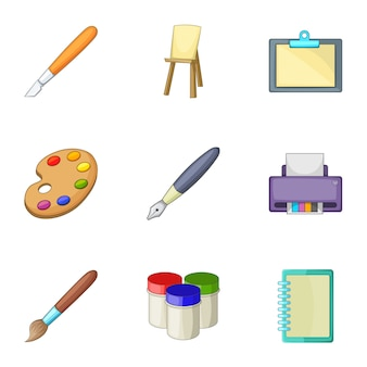 Set di strumenti di disegno e scrittura, stile cartoon