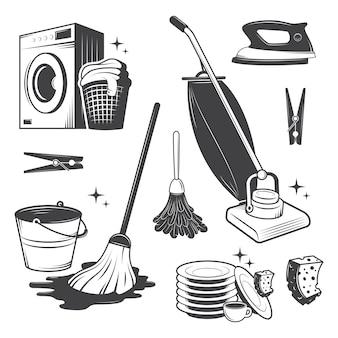 Set di strumenti di pulizia vintage in bianco e nero.