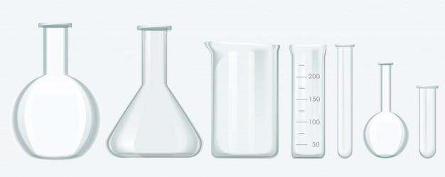 Set di strumenti di scienze chimiche. illustrazione di vettore dell'attrezzatura di vetro del laboratorio.