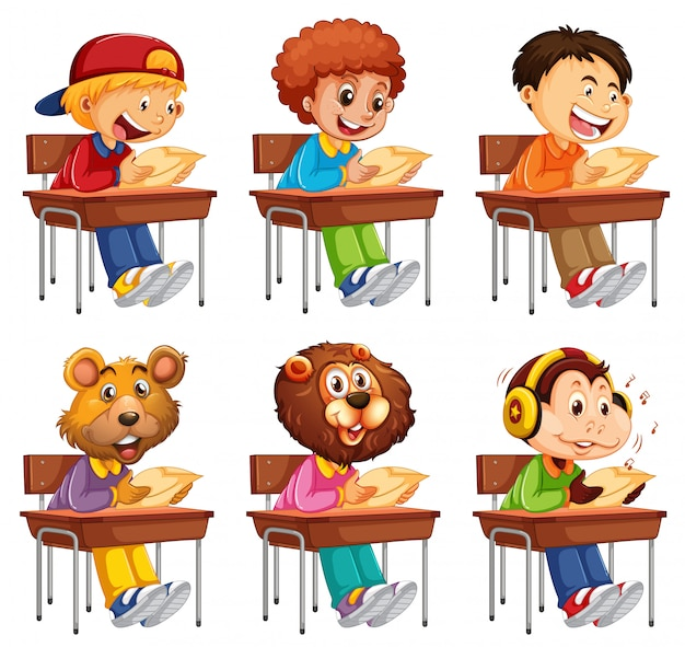 Set di studenti prendendo esame