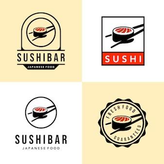 Set di sushi giapponese cibo vintage logo