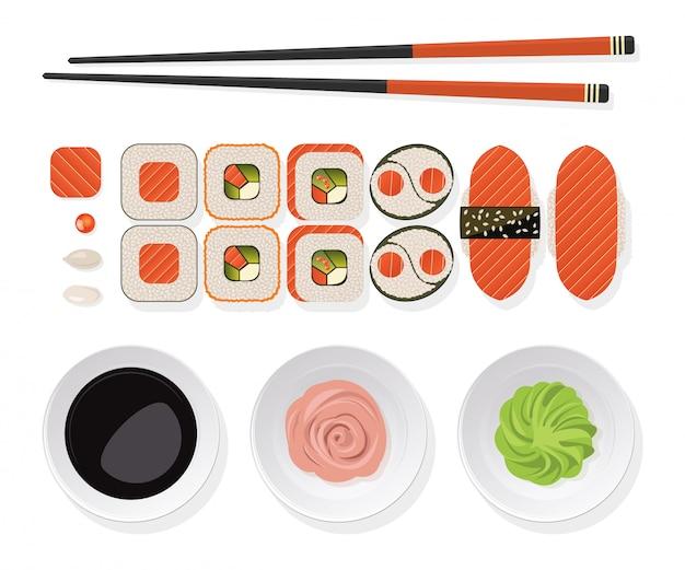 Set di sushi rotoli con salmone, bacchette e wasabi, zenzero, salsa di soia su un piatto bianco.