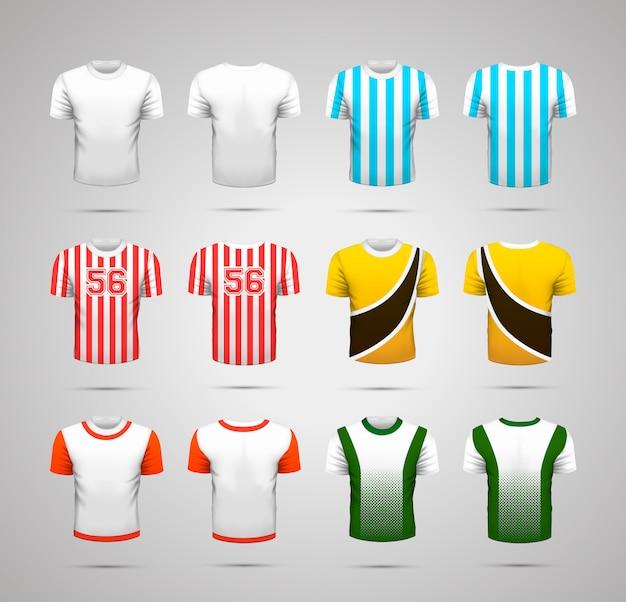 Set di t-shirt sportive realistiche con stampe colorate luminose per diversi comandi su bianco