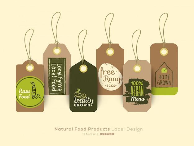 Set di tag cibo biologico sano e progettazione di etichette adesive