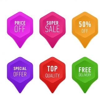 Set di tag colorati, pulsanti e icone per siti web. prezzo di sconto, super vendita, offerta speciale,