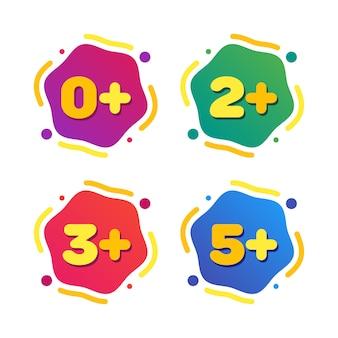 Set di tag di restrizioni di età per bambini