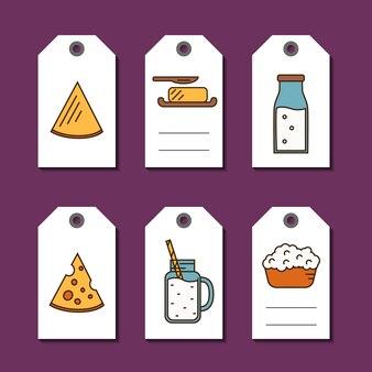 Set di tag di vendita di prodotti lattiero-caseari