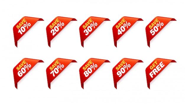 Set di tag di vendita. pacchetto adesivi scontati