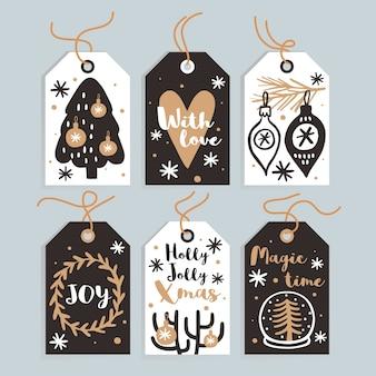 Set di tag e carte regalo di natale carino