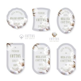 Set di tag e logo per la produzione di cotone