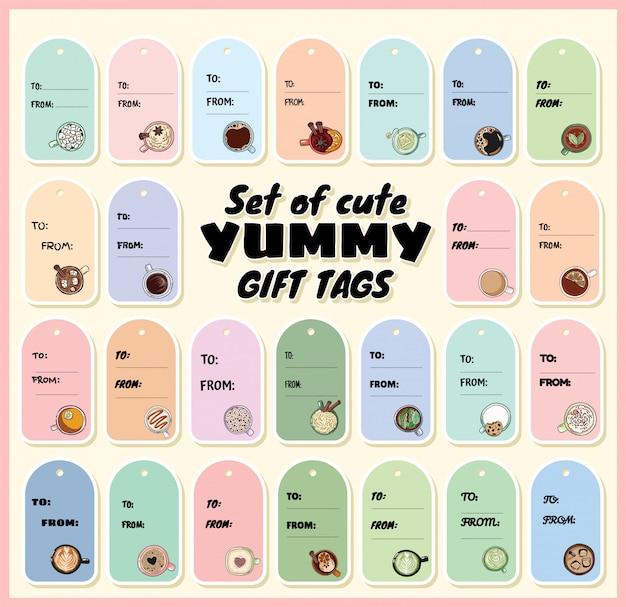 Set di tag regalo buon appetitoso con tazze di tè e caffè. etichette di stile del fumetto disegnato a mano