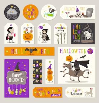 Set di tag regalo di halloween ed etichette con personaggi dei cartoni animati, saluti, segno di festa e simbolo. illustrazione.