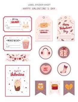 Set di tag regalo di san valentino, etichetta, adesivi con elementi romantici e di bellezza.