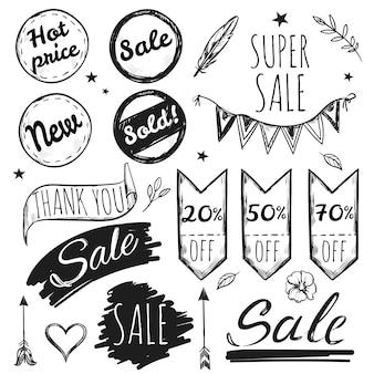 Set di tag vendita disegnati a mano