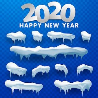 Set di tappi di neve, palle di neve e cumuli di neve. raccolta di vettore di cappuccio di neve. decorazione invernale