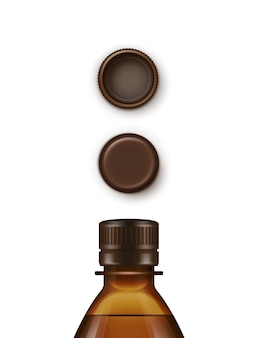 Set di tappi per bottiglia in plastica marrone bianco
