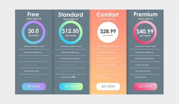 Set di tariffe di offerta. ux banner per web app. set di tabella dei prezzi.