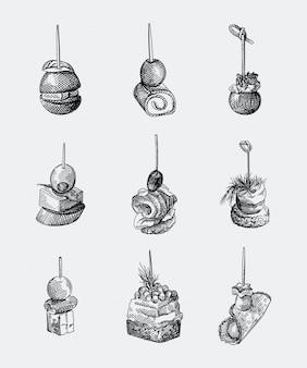 Set di tartine disegnati a mano. olive, uva, pomodoro, prosciutto e salsiccia arrotolati, salmone, gamberi, pane, formaggio, crema di formaggio, caviale, cetriolo su stuzzicadenti