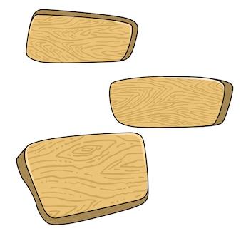 Set di tavole di legno del fumetto. elemento per banner, poster, decorazione del gioco. immagine