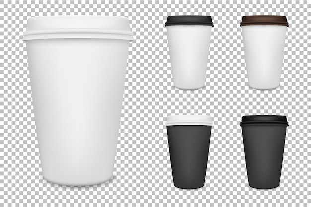 Set di tazze di caffè realistico carta bianca. .