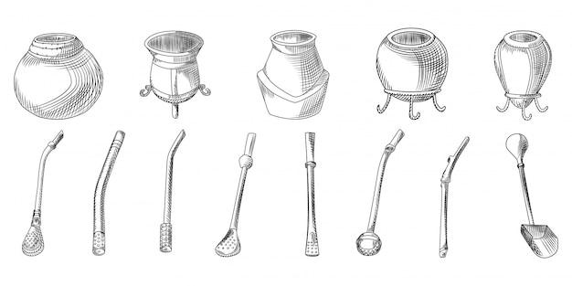 Set di tè yerba mate - calabash e bombilla. accessorio per bere compagno.