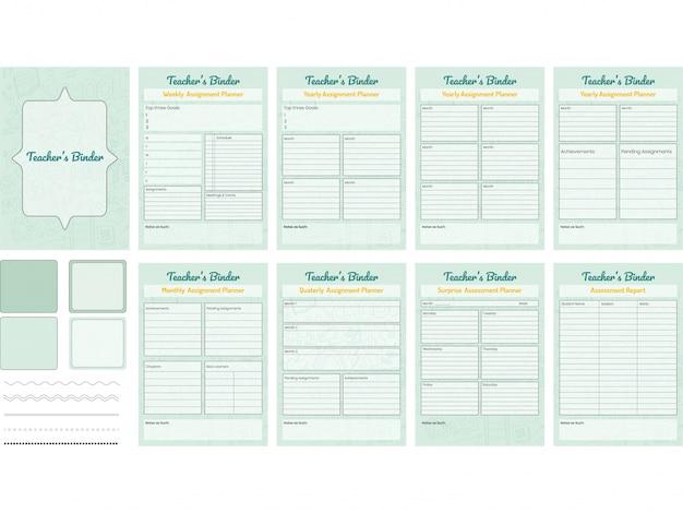 Set di teacher's binder o lesson planner.