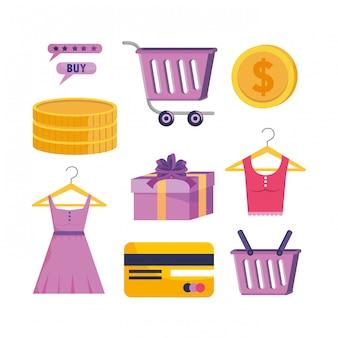 Set di tecnologia dello shopping digitale con carta di credito e monete digitali