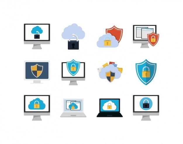 Set di tecnologia e sistemi di sicurezza con set pack