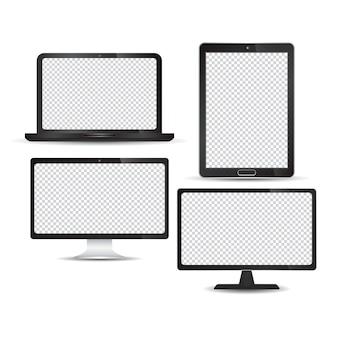 Set di tecnologia realistica dispositivo monitor tablet computer portatile