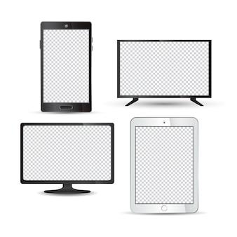 Set di tecnologia realistica dispositivo monitor tablet lcd tv smartphone
