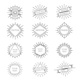 Set di telaio stile hipster isolato con sunburst e nastri. line labels frames.