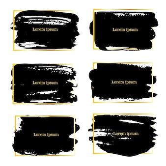Set di telaio tratto pennello, pennellate di inchiostro nero grunge.