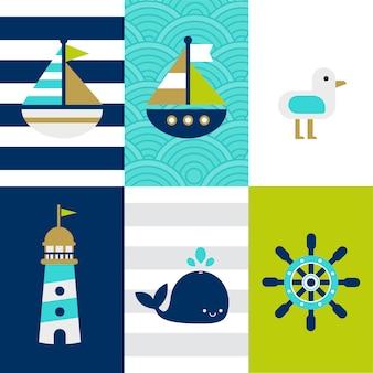 Set di tema bambino carino blu marino