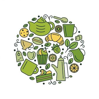 Set di tema del tè. linea arte disegnare icone nel cerchio. illustrazione di vettore