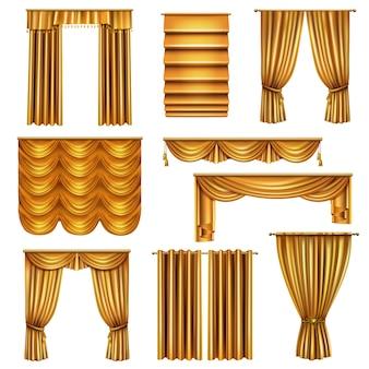 Set di tende d'oro di lusso realistico di vari tendaggi con elementi decorativi isolati