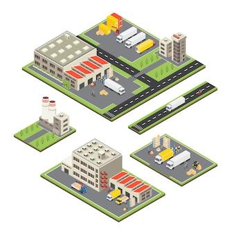 Set di territori del magazzino isometrico
