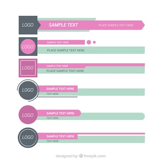 Set di terzi inferiori in design piatto con colori morbidi