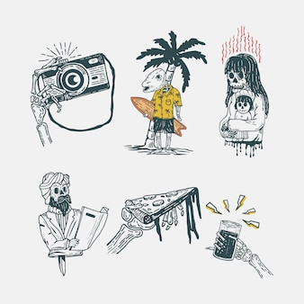 Set di teschi vintage illustrazione