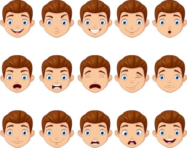 Set di testa di bambini dei cartoni animati
