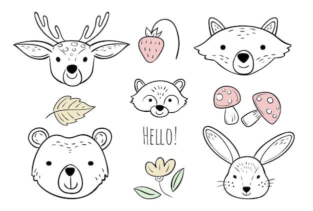 Set di teste di animali doodle
