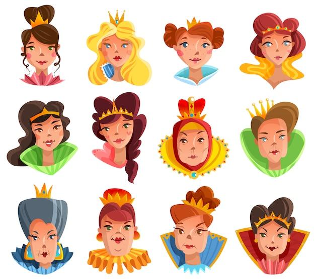 Set di teste di principessa e regina