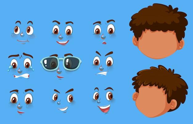 Set di teste umane ed espressioni diverse sui volti