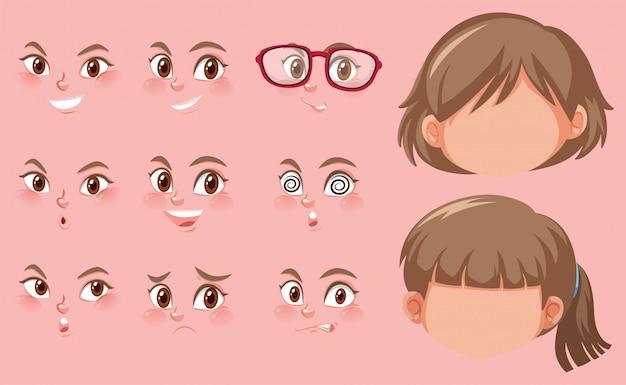 Set di teste umane ed espressioni diverse sul viso