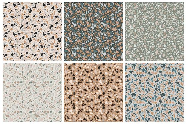 Set di texture di sfondo terrazzo. modelli senza soluzione. pietra naturale, vetro, quarzo, cemento, marmo. tipo di pavimento classico italiano. elementi di design del terrazzo.