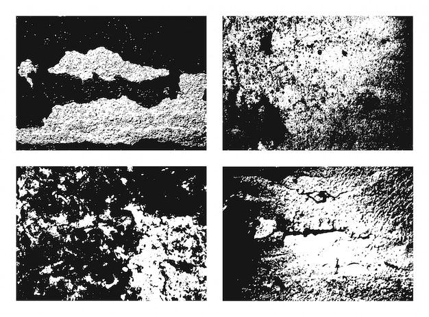 Set di texture grunge. raccolta di diversi sfondi e cornici urbane in bianco e nero con polvere, grana e graffi. sullo sfondo.