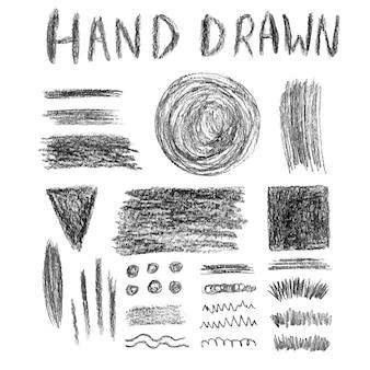 Set di texture matita grungy. elementi vettoriali. spazzole e bandiere