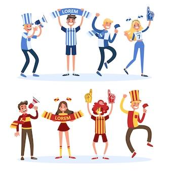 Set di tifosi di calcio. persone con supporto per la bandiera del paese