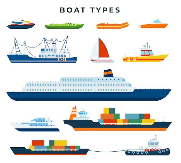 Set di tipi di barche e navi